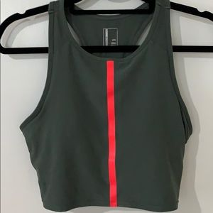 Olive green sports bra/top with orange/pink stripe
